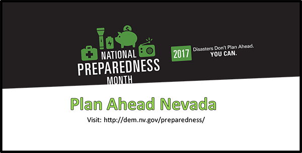National Preparedness Month - Plan Ahead Nevada